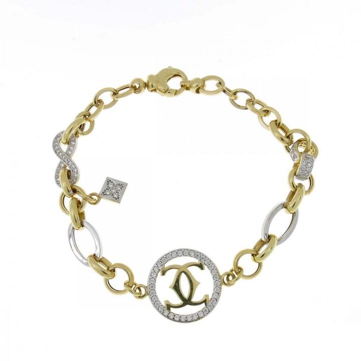 Браслет для женщины, желтое и белое золото с цирконием, длина 19 см