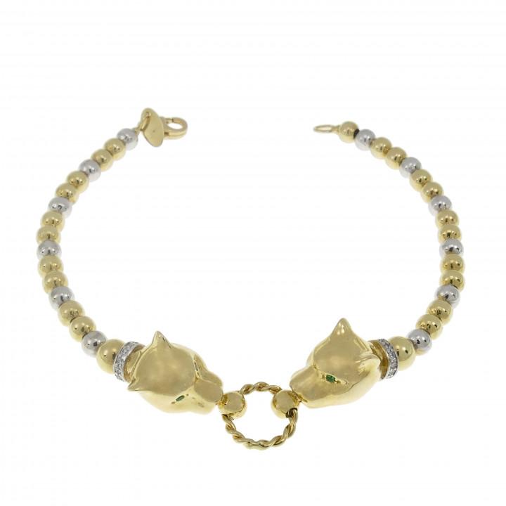 Золотой браслет с головой пантеры