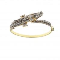 Золотой браслет - крокодил, желтое золото 14 карат, цирконий