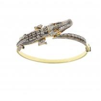 צמיד זהב - תנין, זהב צהוב 14 קראט, זירקוניה מעוקב