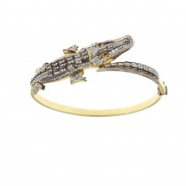 Gold bracelet - crocodile, 14K yellow gold, cubic zirconia