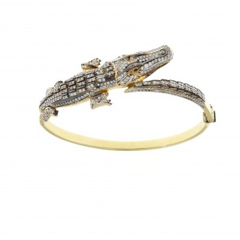 Gold bracelet - crocodile, 14K yellow gold, cubic zirconia