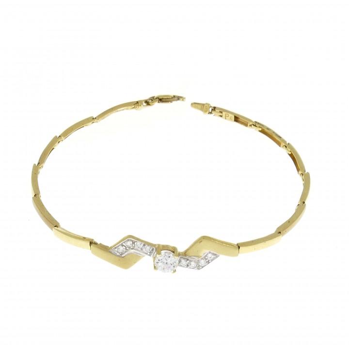 Золотой браслет, желтое золото и цирконий