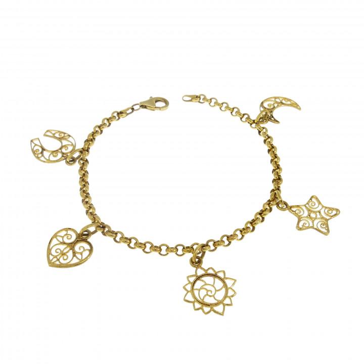 Золотой браслет женский, жёлтое золото 14 карат, длина 19 см