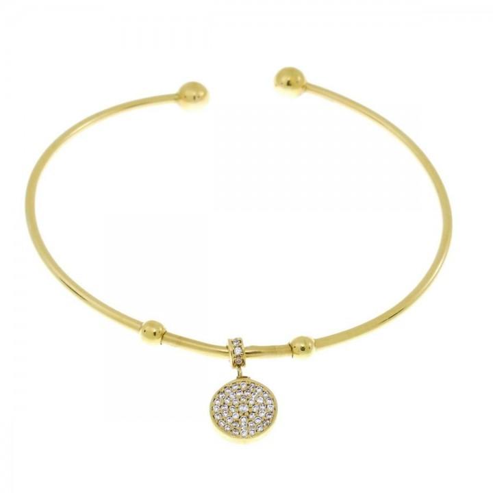 Браслет для женщины, желтое золото 14 карат, цирконий