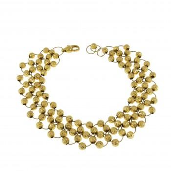 Браслет для женщины с шариками, жёлтое золото 14 карат