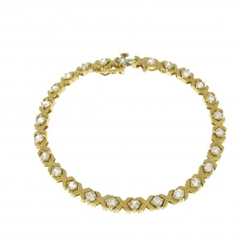 Tennis bracelet for woman, 14K yellow gold, length 19 cm