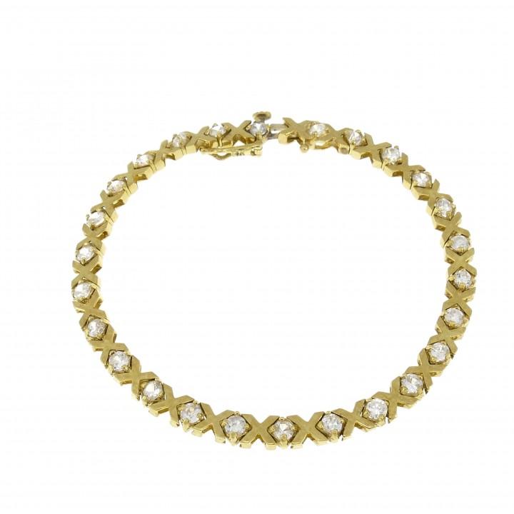 Теннисный браслет для женщины, желтое золото 14 карат, длина 19 см