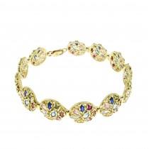 Bracelet for woman, 14K yellow gold, multicolor