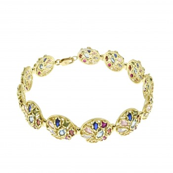 Bracelet for woman, 14K yellow gold, multicolor
