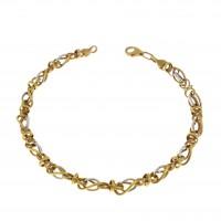 Золотой браслет, белое и желтое золото 14 карат