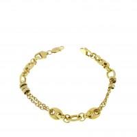Браслет для женщины, желтое золото 14 карат, длина 20 см