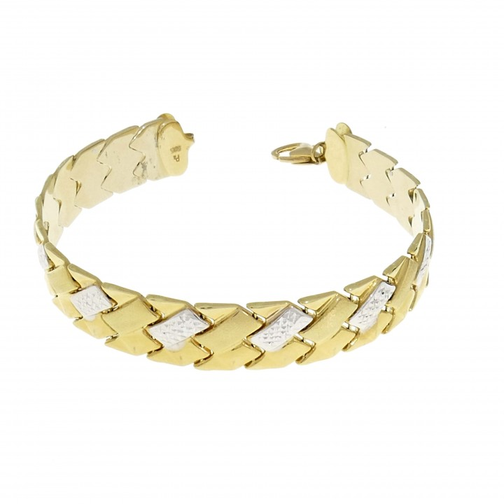 Браслет для женщины, белое и желтое золото 14 карат