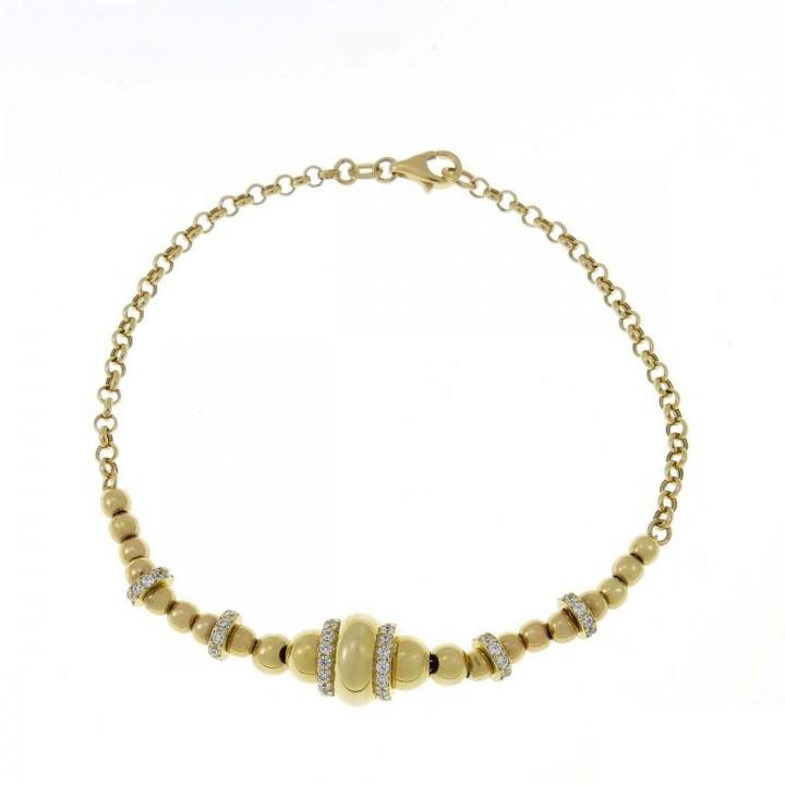 Bracelet for women, yellow gold with zirconium, length 18 cm