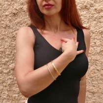 """צמיד לאישה, מרוקאי, זהב צהוב 14 קראט, קוטר 6.5 ס""""מ"""