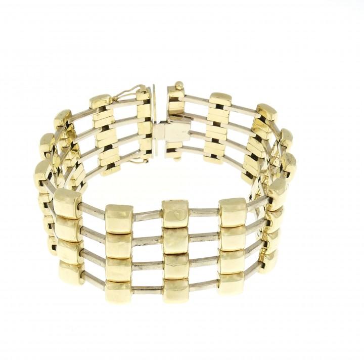 Золотой браслет, широкий, желтое золото 14 карат