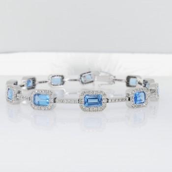 Браслет для женщины с бриллиантами и топазом, белое золото 14 карат