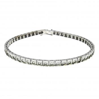 Women's bracelet with diamonds, tennis, 14K white gold