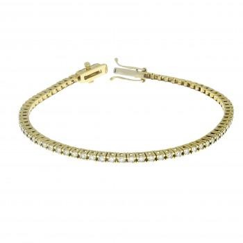 Women's bracelet with diamonds, tennis, 14K yellow gold