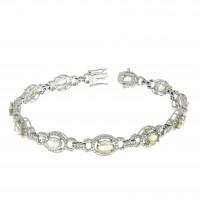 Браслет для женщины с бриллиантами и кварцем, белое золото 14 карат
