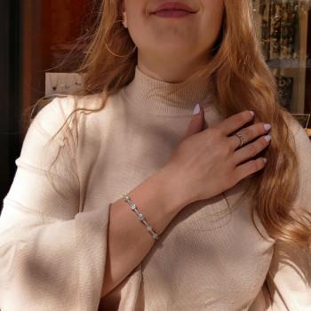 Браслет для женщины с бриллиантами, белое золото 14 карат