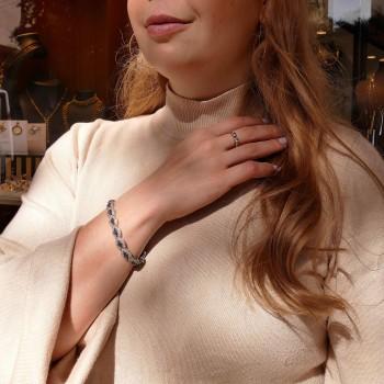 Браслет для женщины с бриллиантами и сапфирами, белое золото 14 карат