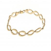 """צמיד זהב לנשים, זהב אדום 14 קראט, אורך 19 ס""""מ"""