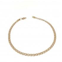 """צמיד זהב לנשים, זהב אדום 14 קראט, אורך 22 ס""""מ"""
