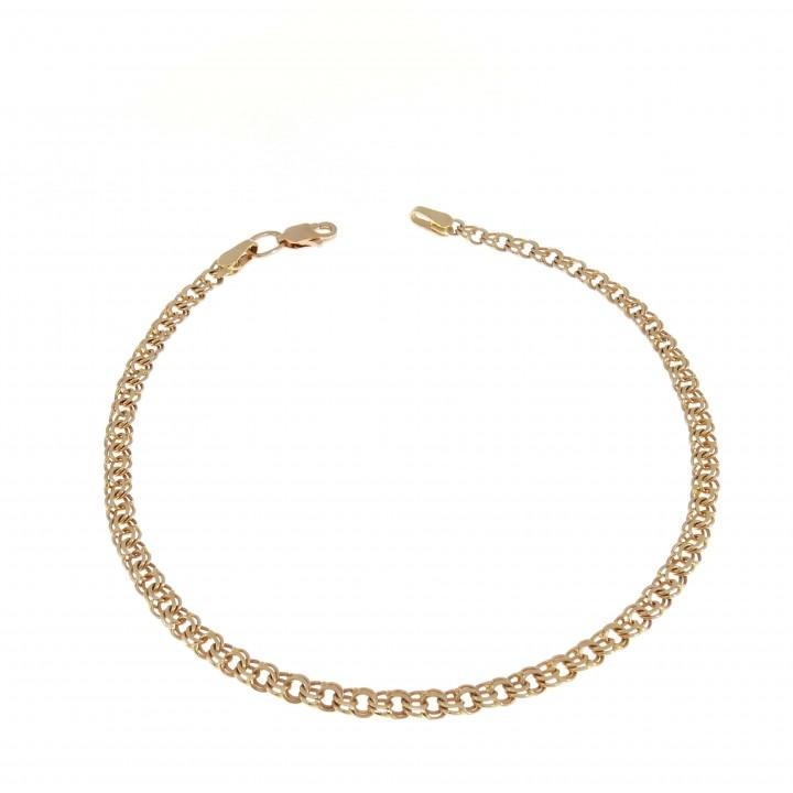 Золотой браслет женский, красное золото 14 карат, длина 22 см