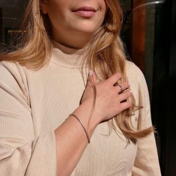 Браслет для женщины с бриллиантами, теннисный, жёлтое золото 14 карат