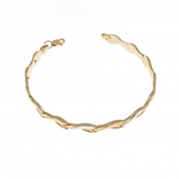 Women's gold bracelet, 14K red gold, length 18 cm