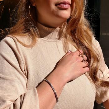 Браслет для женщины с бриллиантами, теннисный, белое золото 14 карат