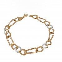 Золотой браслет женский, красное и белое золото 14 карат, длина 21.5 см