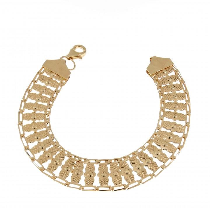 Золотой браслет, красное золото, широкий