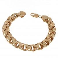 Браслет для женщины, бисмарк, широкий, красное золото 14 карат, длина 21.5 см