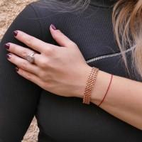 Браслет для женщины, широкий, красное золото 14 карат, длина 22 см