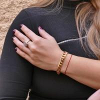 Браслет для женщины, жёлтое и красное золото 14 карат, длина 19.5 см