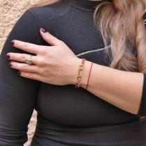 """צמיד זהב לנשים, זהב 14K אדום ולבן, אורך 21.5 ס""""מ"""