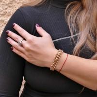 Золотой браслет женский, красное золото 14 карат, длина 21 см