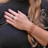 Золотой браслет женский, красное золото 14 карат, длина 19 см