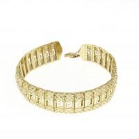 Браслет для женщины, широкий, жёлтое золото 14 карат, длина 19 см