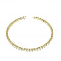 Теннисный браслет для женщины, желтое золото 14 карат, длина 18.5 см
