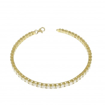 Tennis bracelet for woman, 14K yellow gold, length 18.5 cm