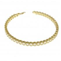 """צמיד טניס לאישה, זהב צהוב 14 קראט, אורך 18.5 ס""""מ"""