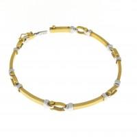 Браслет для женщины, жёлтое и белое золото 14 карат, длина 18 см