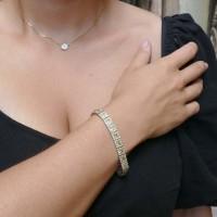Браслет для женщины, белое золото 14 карат, цитрин и цирконий