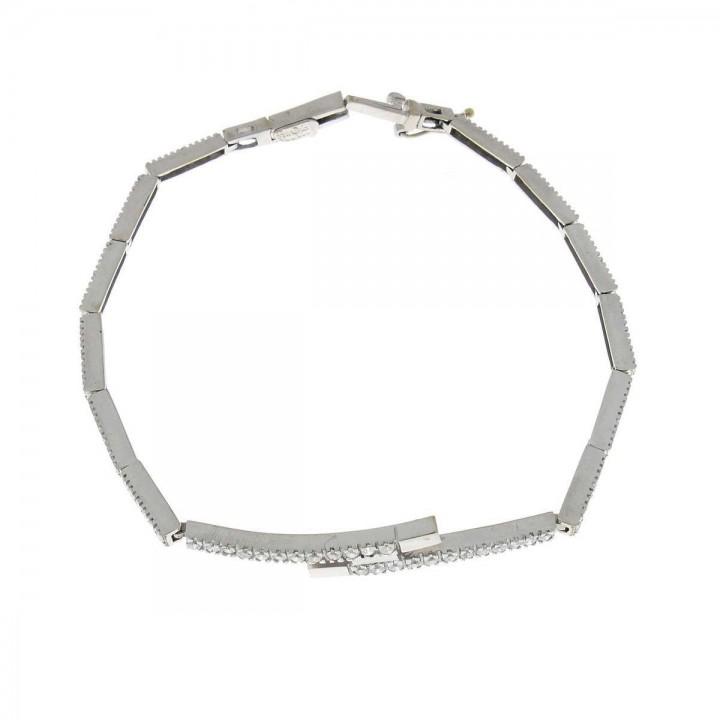 Bracelet for women with zirconium, 14 ct white gold