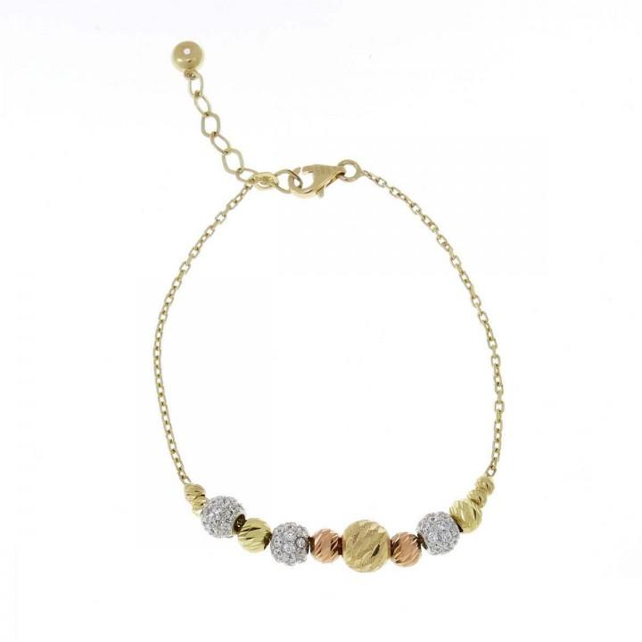 Bracelet for women, yellow, white, red gold 14k, length 18.5 cm