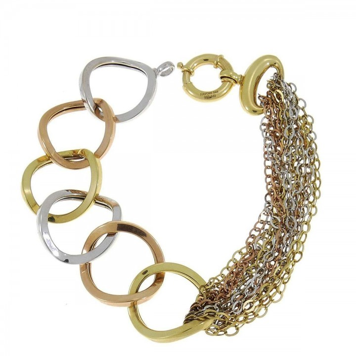 Bracelet for a woman, 14K yellow, white, red gold
