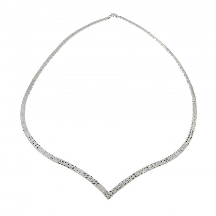 Колье для женщины, белое золото 14 к, диаметр 14.5 см